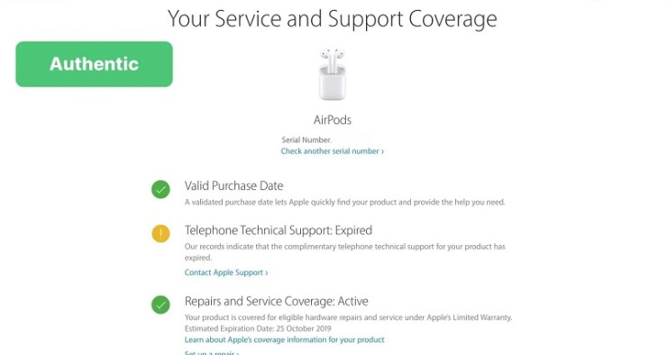 Confirm AirPods authenticity by checking the Serial Number on Apple's official website