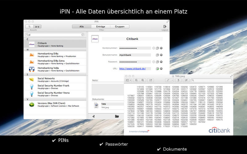 iPIN - Secure PIN & Passwort Safe Screenshot