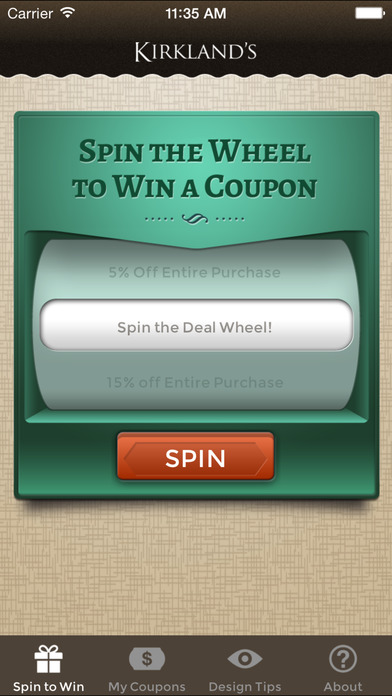 Kirkland's Spin to Win on the App Store on Kirkland's Spin To Win Iphone id=58372