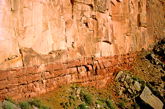 Disconformity between massive Coconino Sandstone and thinner bedded Hermit Shale, Grand Canyon