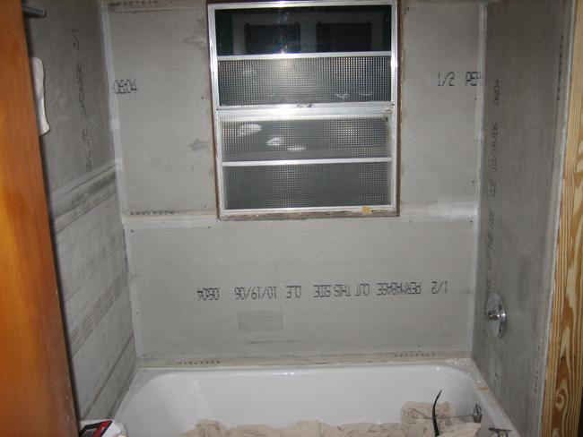 tile backer board installed photo