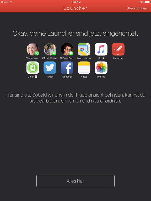 Launcher mit Mitteilungszentrale-Widget Screenshot