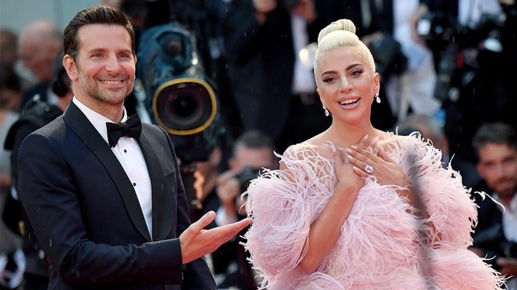 """Bradley Cooper,left, and Lady Gaga take turns sharing the spotlight at the """"A Star is Born"""" premiere during the Venice Film Festival."""