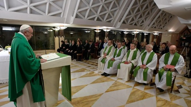 Pope Francis Celebrates Mass In The Chapel Of Santa Marta At Vatican Thursday