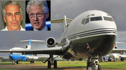 """Epstein, (l.), and Clinton, (r.), flew dozens of times on the billionaire's jet, dubbed """"The Lolita Express."""""""