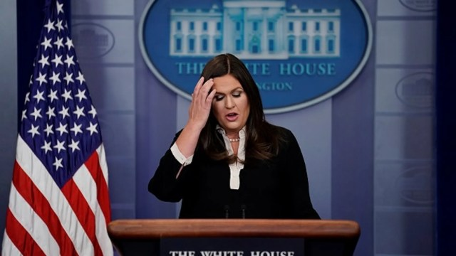 Press Secretary Sarah Sanders hasn't used the briefing room podium since March 11.