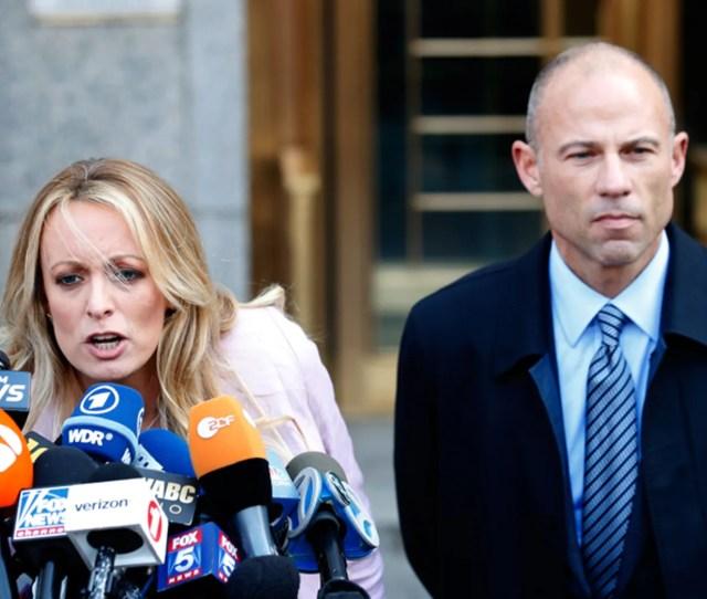 Adult Film Star Stormy Daniels Left And Attorney Michael Avenatti