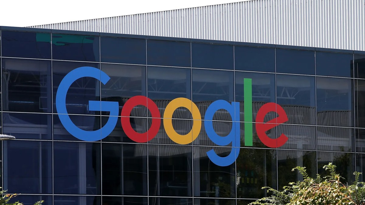 The Google logo is displayed at the Google headquarters on Sept. 2, 2015 in Mountain View, California. (Photo by Justin Sullivan/Getty Images)