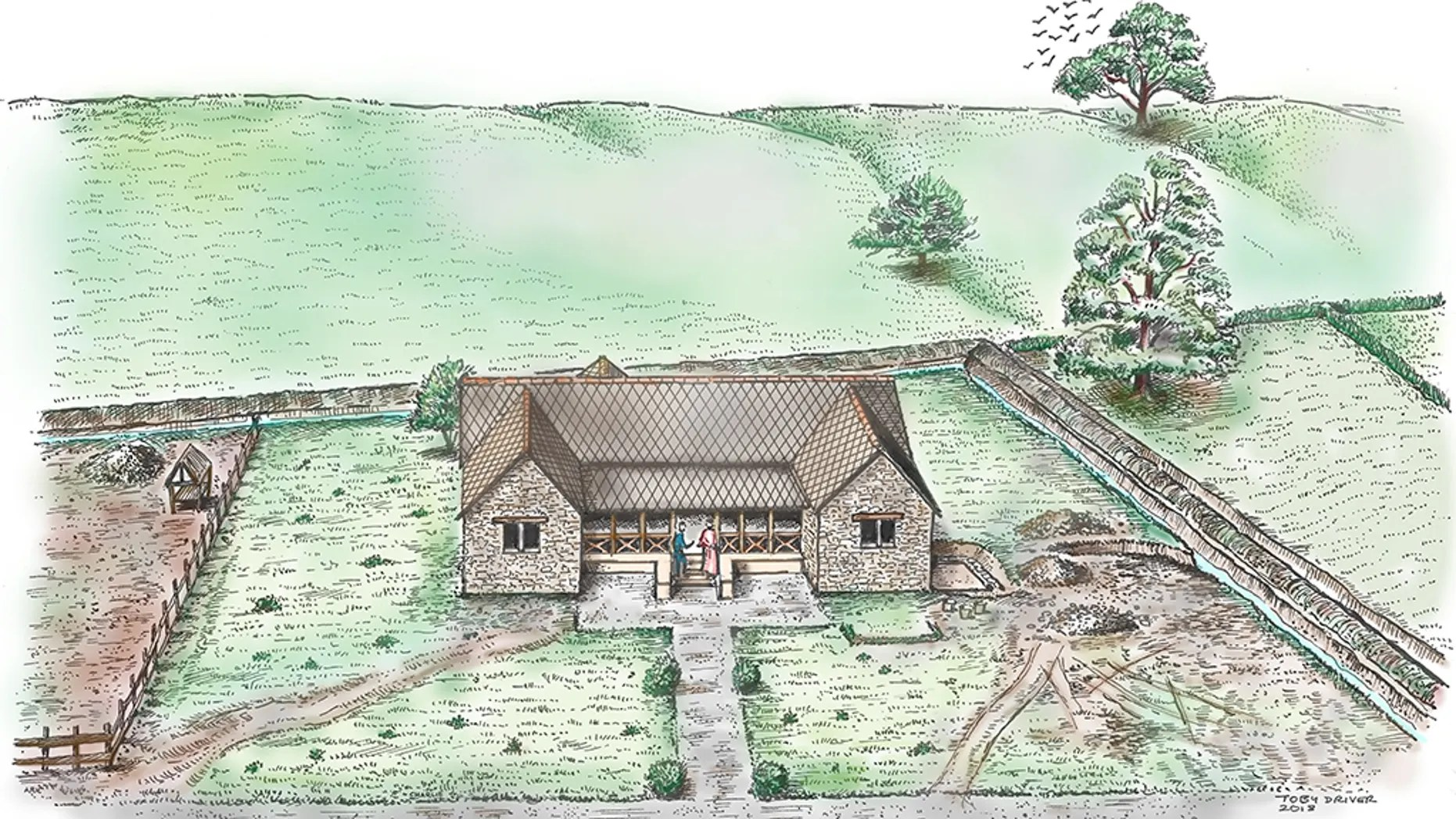 Illustration of Abermagwr Roman villa. Reconstruction of the house or domus by archaeologist Dr. Toby Driver showing a simple garden and graveled path surrounding the villa, and the wider villa enclosure which probably served as a yard for livestock. (Crown copyright: Royal Commission on the Ancient and Historical Monuments of Wales [RCAHMW])