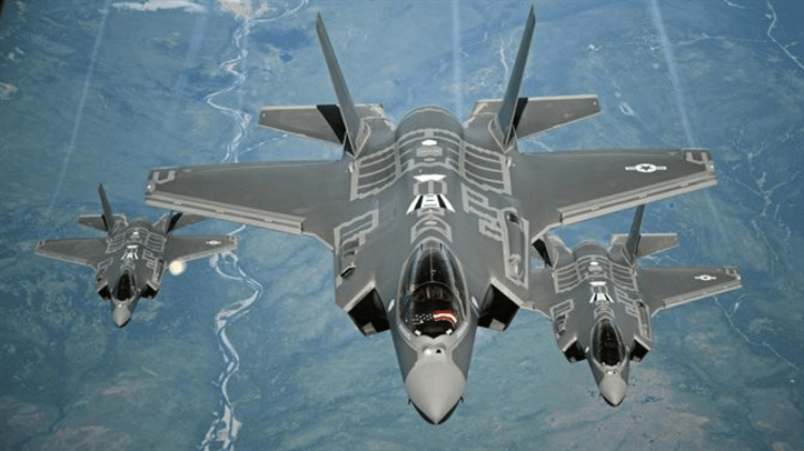File photo - F-35A Lightning II aircraft receive fuel from a KC-10 Extender from Travis Air Force Base, Calif., July 13, 2015, during a flight from England to the U.S.