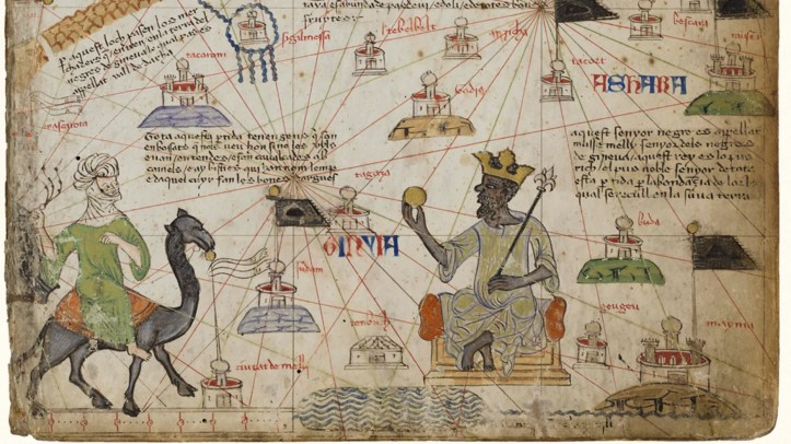 The Catalan Atlas, published in 1375, depicts the richest man of his day: Mansa Musa, the emperor of 14th-century Mali.