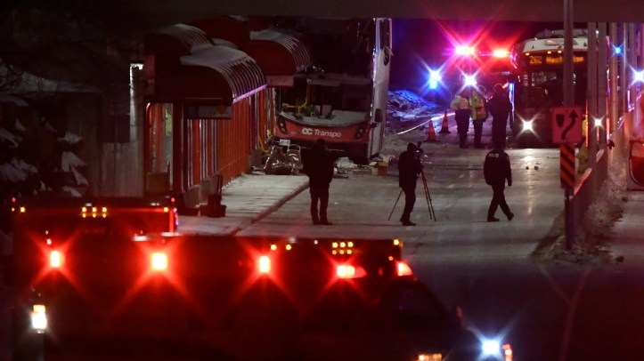 Three people were killed and 23 others injured after a double-decker bus in Canada crashed into a bus platform, officials said Friday.