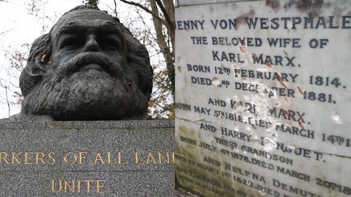 Highgate Cemetery posted a photo of the gravesite's vandalized marble plaque on Twitter.