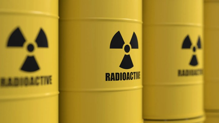 Yellow barrels containing radioactive material