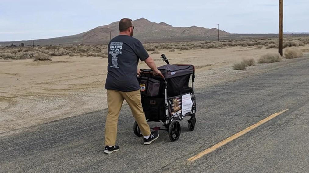 Retired veteran Van Booth walks a highway in Nevada to help veterans in need. So far he's walked 114 miles.