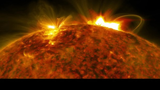NASA's Solar Dynamics Observatory captured an image of the mbadive flare that erupted from the sun on September 10, 2017. (Credit: NASA / Goddard / SDO)