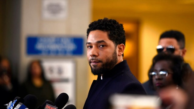FILE - In this March 26, 2019 file photo, Actor Jussie Smollett talks to the media before leaving Cook County Court after his charges were dropped, in Chicago. Chicago's top prosecutor has released 2,000 documents in the Jussie Smollett's case and explained she recused herself from an investigation into his claim he'd been the target of a racist, anti-gay attack solely because of false rumors she was related to the