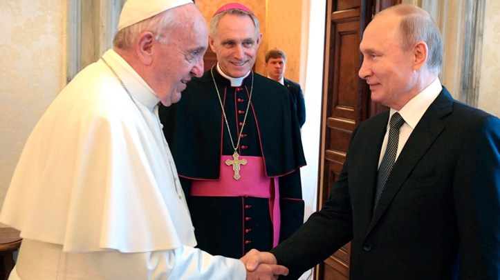 Pope Francis and Russian President Vladimir Putin shake hands on the occasion of their private audience at the Vatican, Thursday, July 4. 2019. (Alexei Druzhinin, Sputnik, Kremlin Pool Photo via AP)