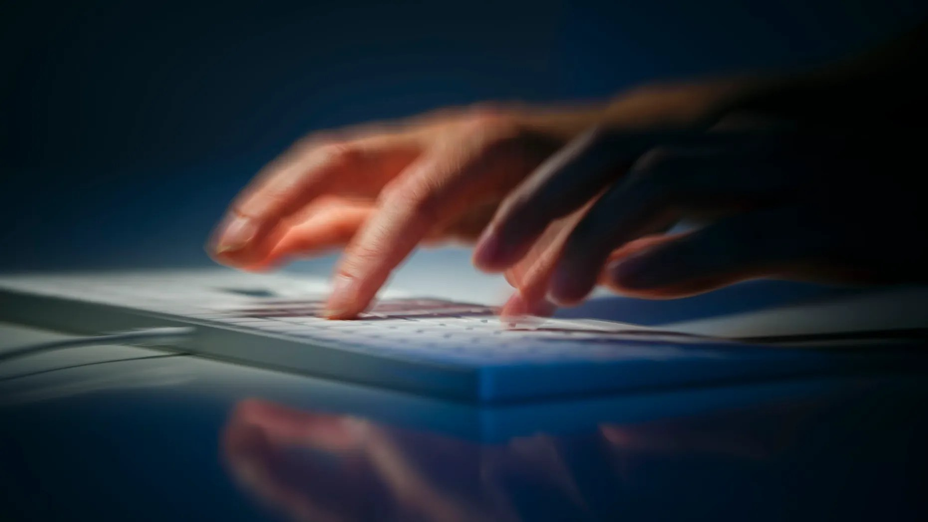 File photo illustration -hands write on a computer keyboard on August 28, 2019 in Berlin, Germany. (Photo by Thomas Trutschel/Photothek via Getty Images)
