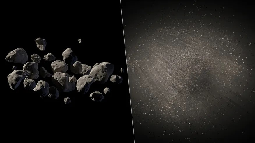 This undated handout two-picture combo of artist conceptions provided by NASA/JPL Caltech shows what NASA says are good candidates for a mission to capture an asteroid, haul it to the moon for astronauts to visit.(AP Photo/NASA/JPL Caltech)