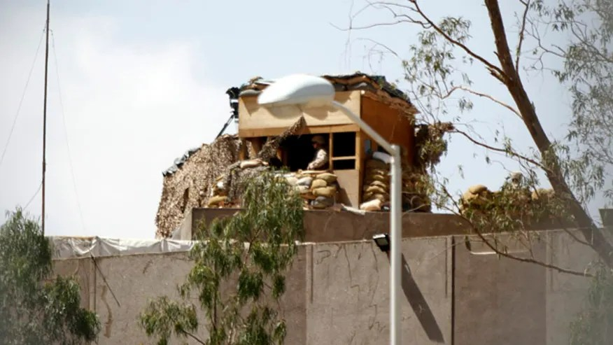 U.S. Marines on the roof of the Sheraton Sana'a Hotel where U.S. diplomats and embassy staffers stay in Sana'a