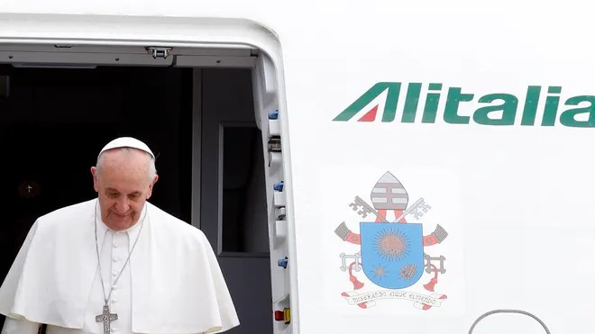 Italy Pope exiting plane july 29.JPG