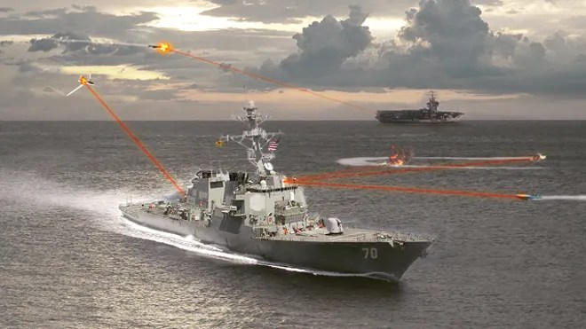 Navy Laser Defense Testing illo
