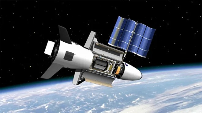 NASA's Marshall Space Flight Center image shows on-orbit functions for the reusable X-37 space plane, now under the wing of the U.S. Air Force. (NASA/MSFC)