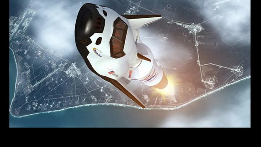 This illustration shows the Dream Chaser vehicle launching into space. (Sierra Nevada)