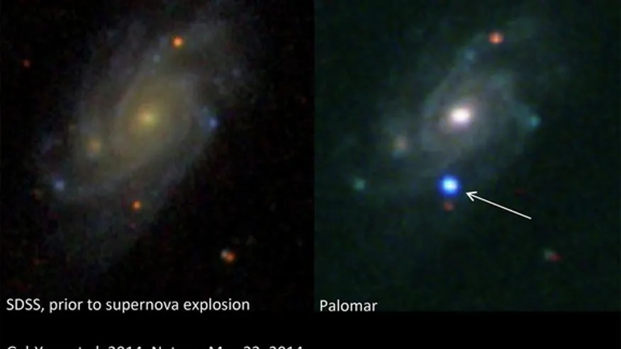 A brilliant supernova (right) explodes in the galaxy UGC 9379, located about 360 million light-years from Earth, in this before-and-after view. The left image was taken by the Sloan Digital Sky Survey, while the right image was obtained with aAVISHAY GAL-YAM, WEIZMANN INSTITUTE OF SCIENCE