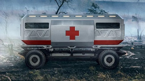 A rendering of the Silent Utility Rover Universal Superstructure (SURUS) platform with an ambulance to show the potential of flexible fuel cell solutions. SURUS was designed to form a foundation for a family of commercial vehicle solutions that leverages a single propulsion system integrated into a common chassis.