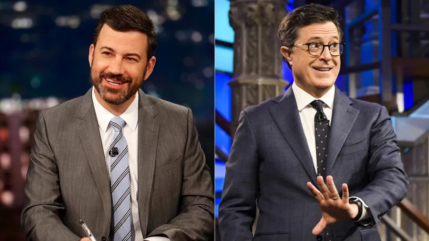 Image result for images of colbert and kimmel