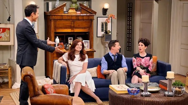 """This image released by NBC shows, from left, Eric McCormack, Debra Messing, Sean Hayes and Megan Mullally in """"Will & Grace,"""" premiering Sept.  28, on NBC. (Chris Haston/NBC via AP)"""