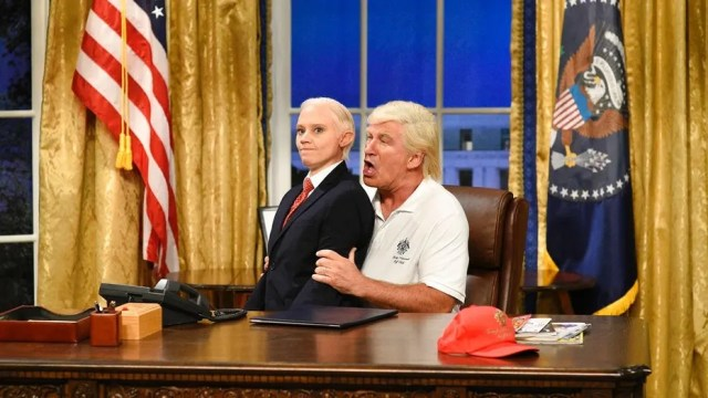 "Alec Baldwin portrays President Trump during the cold open on ""Saturday Night Live."""