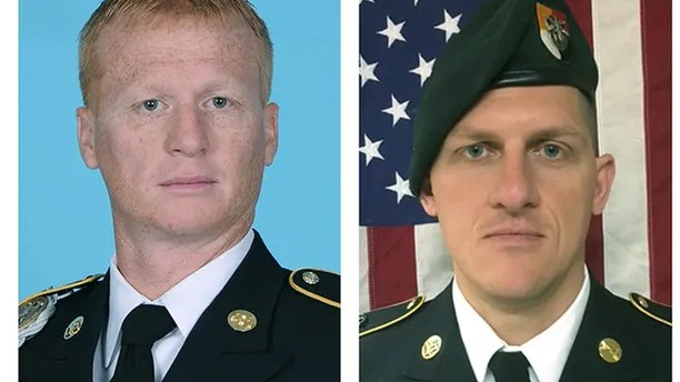 A combination photo of U.S. Army Special Forces Sergeant Jeremiah Johnson (L to R), U.S. Special Forces Sgt. Bryan Black, U.S. Special Forces Sgt. Dustin Wright and U.S. Special Forces Sgt. La David Johnson killed in Niger, West Africa on October 4, 2017, in these handout photos released October 18, 2017.  Courtesy U.S. Army Special Operations Command/Handout via REUTERS   ATTENTION EDITORS - THIS IMAGE WAS PROVIDED BY A THIRD PARTY - RC177C557C30