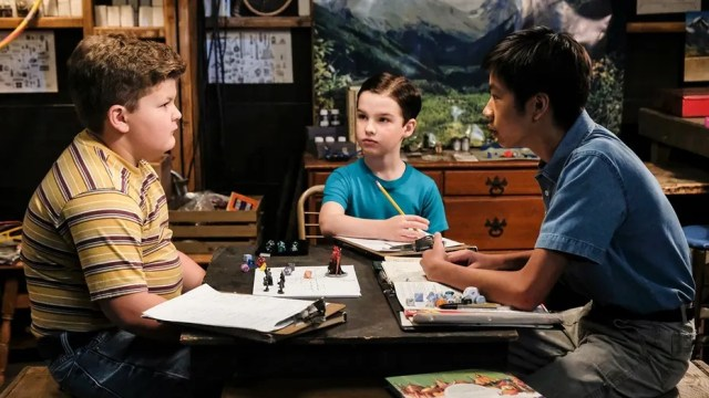 """Demons, Sunday School, and Prime Numbers"" - Pictured: Billy Sparks (Wyatt McClure), Sheldon (Iain Armitage) and Tam (Ryan Phuong). A worried Mary sends Sheldon to Sunday school after she finds him playing Dungeons and Dragons with his friends Tam and Billy, on YOUNG SHELDON, Thursday, Jan. 11 (8:31-9:01 PM, ET/PT) on the CBS Television Network. Billy Gardell guest stars as Billy Sparks' father, Herschel. Photo: Darren Michaels/Warner Bros. Entertainment Inc. © 2017 WBEI. All rights reserved."