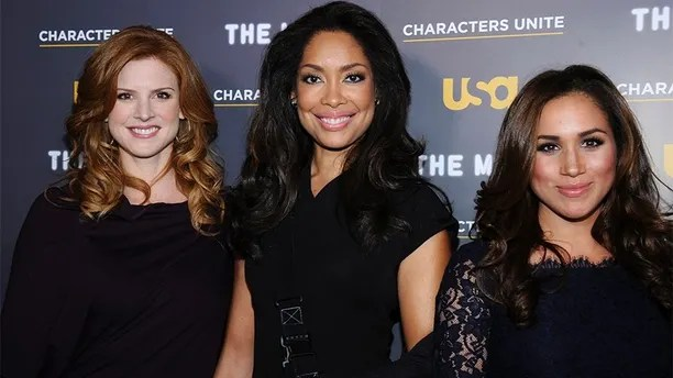 (L-R) Actresses Sarah Rafferty, Gina Torres and Meghan Markle attend the USA Network and The Moth's Characters Unite Event at the Pacific Design Center in West Hollywood, California February 15, 2012. REUTERS/Phil McCarten (UNITED STATES - Tags: ENTERTAINMENT) - GM1E82G18QV01