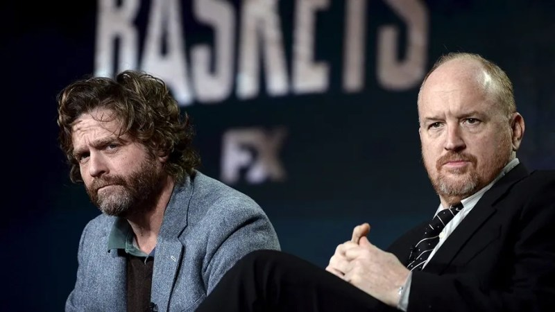 """Cast member Zach Galifianakis (L) and executive producer Louis C.K. participate in a panel for the FX Networks series """"Baskets""""  during the Television Critics Association (TCA) Cable Winter Press Tour in Pasadena, California January 16, 2016. REUTERS/Kevork Djansezian - GF20000097272"""