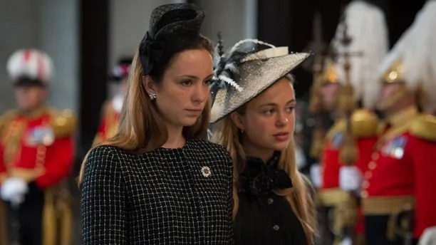 Queen's 90th birthday celebrations. Lady Marina Windsor (left) and Lady Amelia Windsor arrive at St Paul's Cathedral in London for a national service of thanksgiving to celebrate the 90th birthday of Queen Elizabeth II. Picture date: Friday June 10, 2016. See PA story ROYAL Birthday. Photo credit should read: Stefan Rousseau/PA Wire URN:26562109