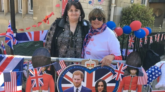 Faith Nicholson, left, and Donna Werner met and Prince William and Kate Middleton's wedding in 2011 and have reunited to camp out on the streets ahead of Prince Harry's wedding to Meghan Markle on Saturday.