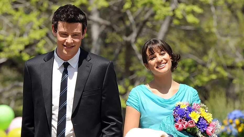Actors Lea Michele and Cory Monteith on the Central Park set of the hit TV show 'Glee' on April 26 2011 in New York City.