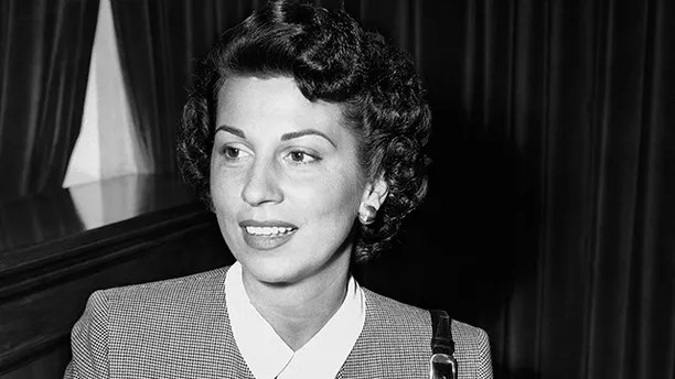 FILE - In this Sept. 28, 1950 file photo, Nancy Sinatra Sr. takes the witness stand in Superior Court in Santa Monica, Calif., where she was granted a decree of separate maintenance from singer Frank Sinatra. Sinatra Sr., the childhood sweetheart of Frank Sinatra who became the first of his four wives and the mother of his three children, has died. She was 101. Her daughter, Nancy Sinatra Jr., tweeted that her mother died Friday, July 13, 2018.  (AP Photo/Harold Filan, File)