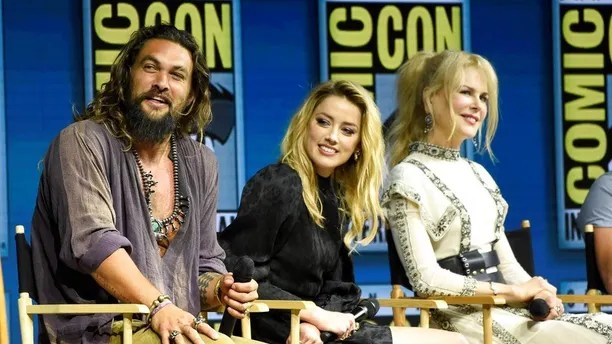 Jason Momoa, from left, Amber Heard and Nicole Kidman attend the Warner Bros. Theatrical panel for