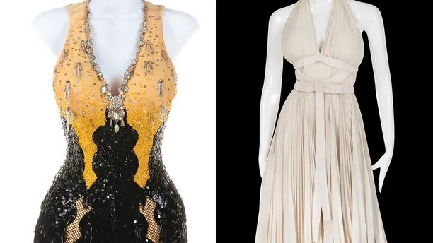 This combination photo of images released by Profiles in History shows costumes worn by actress Marilyn Monroe in