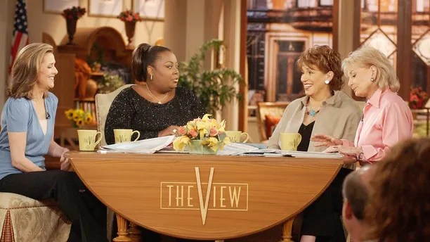 Meredith Vieira, left, Star Jones, Joy Behar and Barbara Walters appear on the set of ABC's