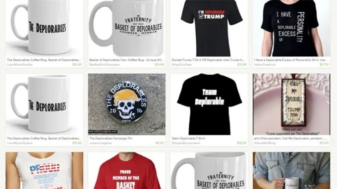 "This Sept. 12, 2016 screenshot of the ecommerce website Etsy shows a host of ""Basket of Deplorables"" merchandise available."