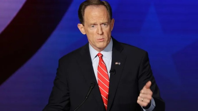 Oct. 24, 2016: Republican Sen. Pat Toomey takes part in a Pennsylvania U.S. Senate debate with Democrat Katie McGinty at Temple University in Philadelphia.