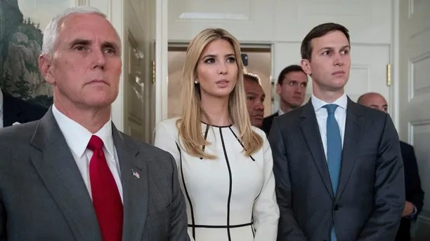 From left, Vice President Mike Pence, Ivanka Trump, daughter of President Donald Trump, and White House Senior Adviser Jared Kushner listen as President Donald Trump speaks in the Diplomatic Room of the White House in Washington, Wednesday, June 14, 2017, about the shooting in Alexandria, Va. where House Majority Whip Steve Scalise of La., and others, where shot during a Congressional baseball practice. (AP Photo/Andrew Harnik)