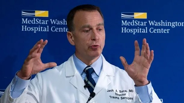 MedStar Washington Hospital Center Director of Trauma Dr. Jack Sava speaks during a news conference in Washington, Friday, June 16, 2017, about the condition of House Majority Whip Steve Scalise of La. who was shot in Alexandria, Va., Wednesday, June 14, 2017, during a congressional baseball practice. (AP Photo/Jose Luis Magana)