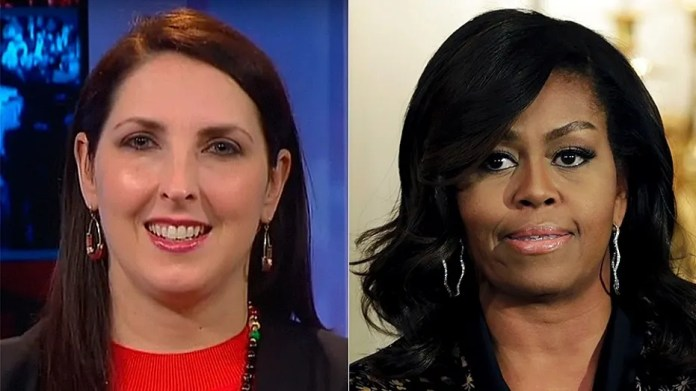 RNC Chairwoman Ronna McDaniel, at left (Fox News), said former first lady Michelle Obama, at right(Reuters), made a 'false accusation' about the GOP.